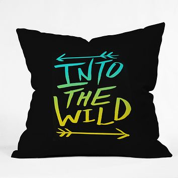 Leah Flores Into The Wild Teal And Gold Throw Pillow