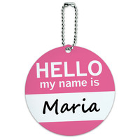 Maria Hello My Name Is Round ID Card Luggage Tag