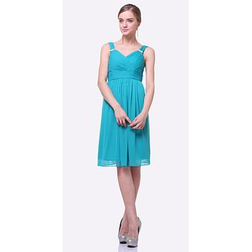 Knee Length Jade Beach Wedding Bridesmaid Dress Flowy Chiffon