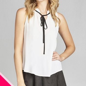Ladies fashion plus size sleeveless contrast self-tie wool dobby woven top