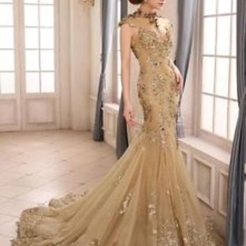 Luxury High Neck Applique Tulle Evening Dresses Backless Mermaid Train Gowns