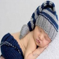 Blue Hat Pants Baby Prop Hat Knit Outfit Photography Newborn Shoot - CCC226