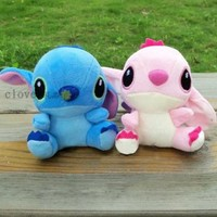 2pcs/Lot Stitch Plush Toy Couple Key Chian Mobile Chain