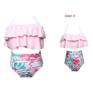 Family Matching Outfit Mother and Daughter Two Pieces Swimwear Female Children Bikini Bathing Swimsuit Beachwear Women and Girl