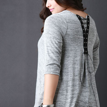 Corset Lace Up Back Marled Knit Top