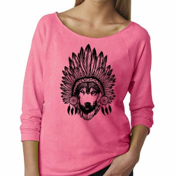 Tribal Wolf Sweatshirt Comfy Women's Clothing Cute Head dress Sweat Shirts Dream Catcher Print Native Wolves Tops Spiritual Animal Prints