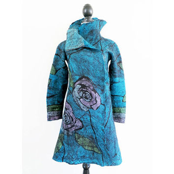 Roses Nuno Felted Jacket, Wearable Art, Silk and Merino Nuno Felted Jacket, One of a Kind Nuno Jacket, Blue Couture Jacket, Pink Roses Coat