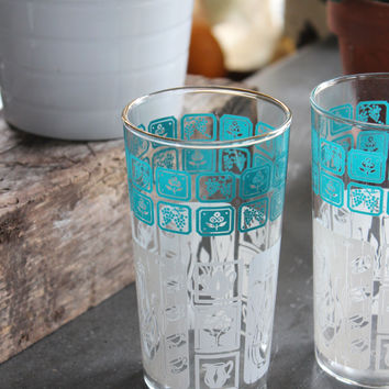 Turquoise, White & Gold Drinking Glasses, Set of 2