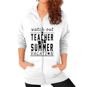 Teacher summer Zip Hoodie (on woman)
