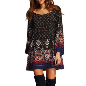 Vintage Autumn Dresses Women Clothing Boho Multicolor Round Neck Long Flare Sleeve Print Ladies Dress