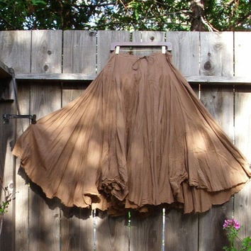 Romantic Bohemian Skirt/ Brown Cotton Maxi Gypsy Skirt/ Mori girls Woodland Earth Color/ steampunk