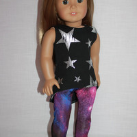 high low black tank top with silver stars, galaxy print leggings,18 inch doll clothes, American Girl, maplelea