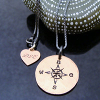 "D2E hammered hand stamped recycled penny ""Compass"" Design on black rhodium sterling silver necklace"