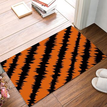 Autumn Fall welcome door mat doormat Black And Orange Electric Wave s Kitchen Floor Bath Entrance Rug Mat Absorbent Indoor Bathroom Rubber AT_76_7