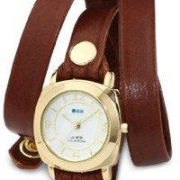 """La Mer Collections Women's LMODY005 """"Odyssey"""" Gold-Tone Watch with Brown Leather Wrap-Around Band"""