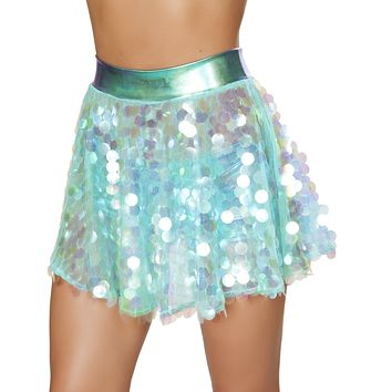 Turquoise Payette Sequin Rave Skirt