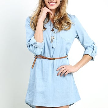 Chambray Denim Dress W/Belt