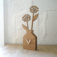 Houseplant Clock Large - White Oak
