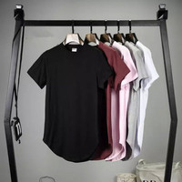 Men Kanye West Arc Hem Hip Hop T shirt Oversized Tee Shirts Women Skate Rock Tops Extended Swag Kpop Clothes Streetwear S-XXL