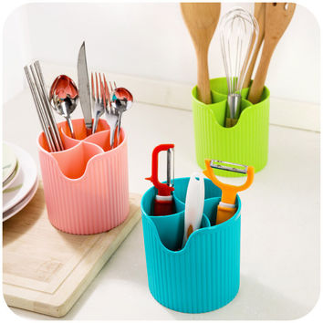 New design candy color Kitchen storage box tableware knife fork spoon storage bins drain cutlery kitchen tools holder