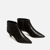 EMBOSSED LEATHER LOW HEEL ANKLE BOOTS - Leather-SHOES-WOMAN | ZARA United States
