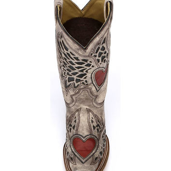 Corral Women's Sand/Black-Red Side Wing and Heart Square Toe Boot - A2648
