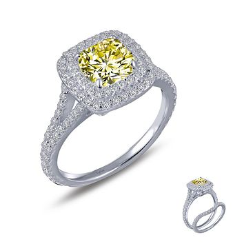 Lafonn Classic Sterling Silver Platinum Plated Lassire Simulated Canary Ring (2.14 CTTW)