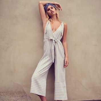 Free People Yarn Dye Stripe Overalls