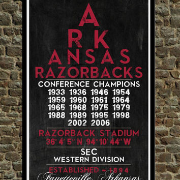 Arkansas Razorbacks - Eye Chart chalkboard print - sports, football, gift for fathers day, subway sign - Eyechart Wall Art