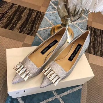 SErgio Rossi 18 autumn and winter new rhinestone single shoes series with height 4.5cm silver Size