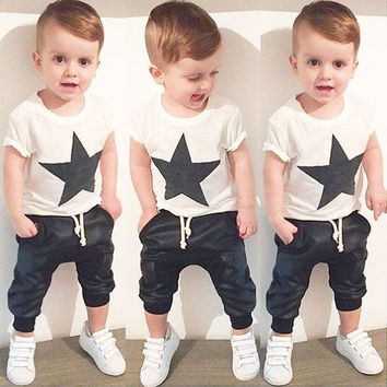 Summer Boys Clothes 2017 New Baby Boy Clothing Set Pattern Rabbit Toddler Boys Clothing Plaid Kids Clothes Children Clothing Set