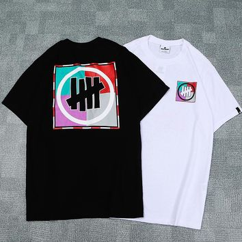 UNDEFEATED 2019 early spring new colorblock square five bar print short-sleeved T-shirt