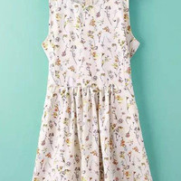 White Floral Printed Sleeveless Dress
