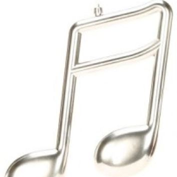 """12"""" Royal Symphony Shiny Silver Musical Sixteenth Note Christmas Ornament"""