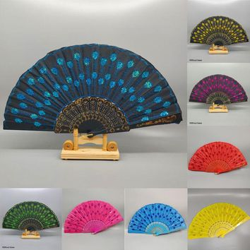 Vintage Bamboo Folding Hand Held Flower Fan Chinese Dance Party Pocket Gifts Wedding Colorful Peacock tail feather fan