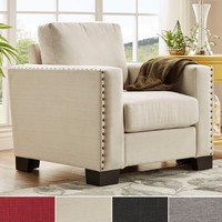 INSPIRE Q Torrington Linen Nailhead Track Arm Accent Chair   Overstock.com Shopping - The Best Deals on Living Room Chairs