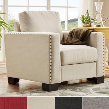 INSPIRE Q Torrington Linen Nailhead Track Arm Accent Chair | Overstock.com Shopping - The Best Deals on Living Room Chairs
