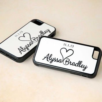 Personalized Phone Case, Matching Custom Phone Case for Couple, Best Friends, iPhone Case, Samsung Galaxy Case, Cell, Black + White
