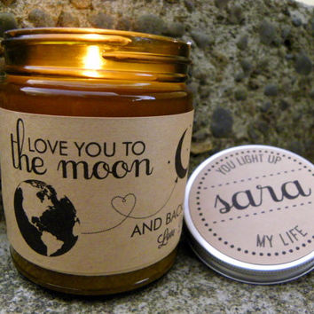 Love You To The Moon And Back Soy Candle Gift for Husband Gift For Wife Gift for Parents Valentines Day Gift Custom Candle Personalized Gift