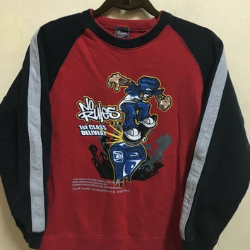 5% Off Vintage 90's No Rules Skateboarding Sport Classic Design Skate Sweat Shirt Sweater Varsity Jacket Size M #A162