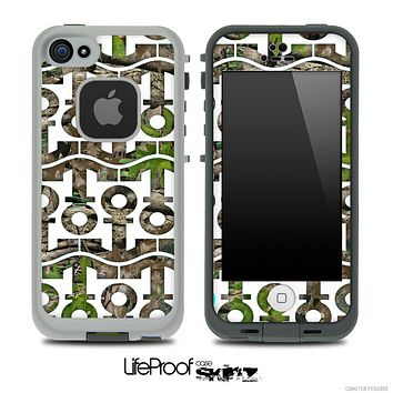 White and Real Camouflage Anchor Collage Skin for the iPhone 5 or 4/4s LifeProof Case