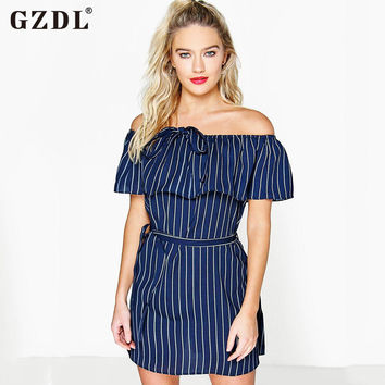 GZDL Boho Women Lady Striped Off Shoulder Short Sleeve Bandage Peplum Summer Dresses Beach Sexy Mini Dress Vestidos CL2800