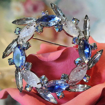 Rhinestone Brooch Givre Glass 1960s 60s Mid Century Brooch AB Aurora Borealis Elongated Spiky Navettes Juliana Style Brooch Aquamarine Blue