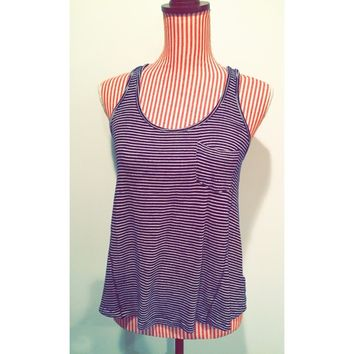 Striped Navy and White Tank