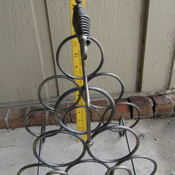 Vintage Wine Rack / 70s Handle Metal Wire Wine Rack / Metal Wine Rack / Vino Bottle Rack / Wine Storage / Wine Storage Rack / Barware