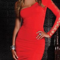 Red Half Shoulder Strappy Cut-Out Bodycon Dress