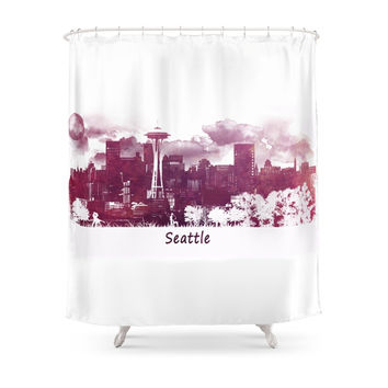 Society6 Seattle Skyline Shower Curtains