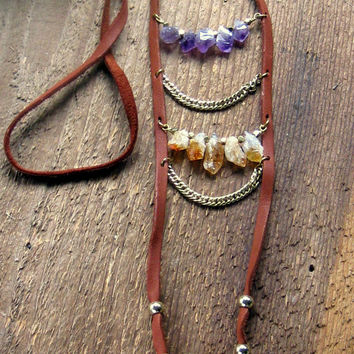Rough Amethyst Citrine Nugget Leather Necklace Long Necklace Layering Necklace Raw Crystal Necklace