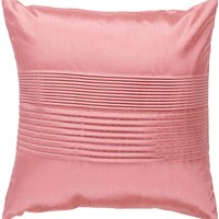 Solid Pleated Throw Pillow Pink