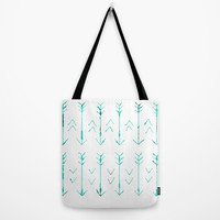 Arrows Tote Bag - Grocery Bag - Beach Bag - Book Bag - Teal